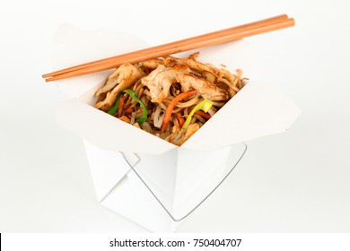 Asian rice with chicken in a box