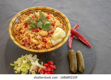 asian rice dish with chicken