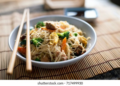Asian rice noodles with chicken and vegetables