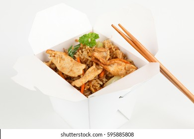 Asian rice with pork in a box