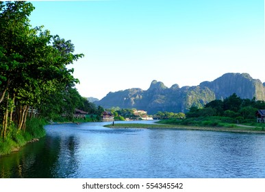Asian river through the green forest