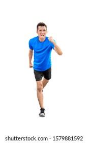 Asian runner man running posing isolated over white background