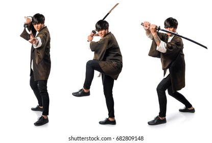 Asian samurai man with katana