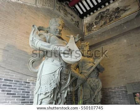 asian samurai musical statue sculptures stock photo edit now