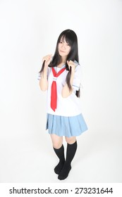 asian school girl isolated in white background