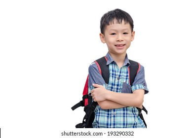 Asian schoolboy smiling isolated on white background