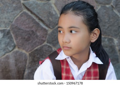 asian schoolgirl with ponytail