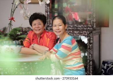 Asian senior adult portrait in home.
