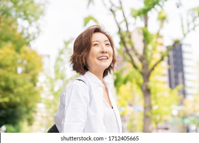 Asian senior age woman , smile