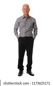 asian senior business male full body