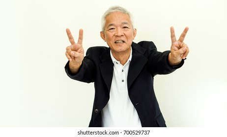 Asian senior man casual business attire suit with happy face and hand gesture