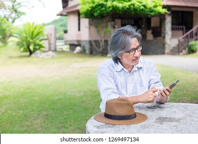 asian senior man connects internet and search information with smartphone in garden, he working in vacation time, communication technology
