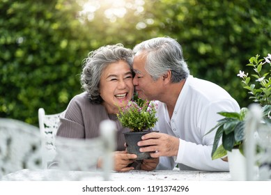 Asian Senior man kissing wife cheek in wedding anniversary. Happy Japanese Elderly Couple in love enjoying with planting flower in garden. Older Chinese family having fun at house. Valentines day.