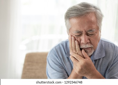Asian senior man patients Toothache hurts - Elderly patients medical and healthcare concept