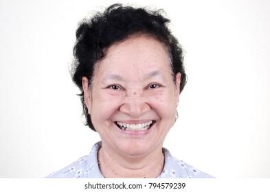 Asian Senior woman smiling
