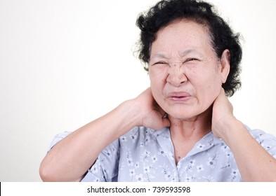 Asian Senior woman sore throat expression over white background