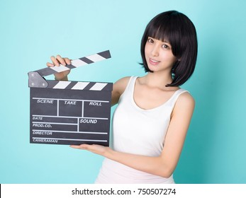asian sexy  girl director with clapper board