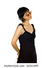 Asian Sexy Woman in Black Dress Wearing Sunglasses on White Background