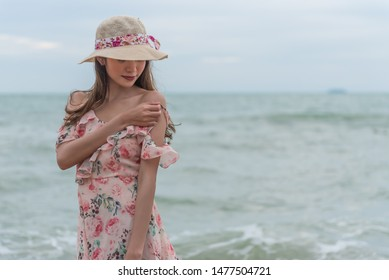 Asian sexy woman on the beach, summer holiday travel trip concept.