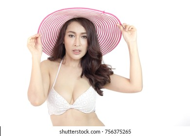 Asian Sexy woman posing in studio, Woman Shape Concept, Woman Shape with Isolated on White Backgroung.