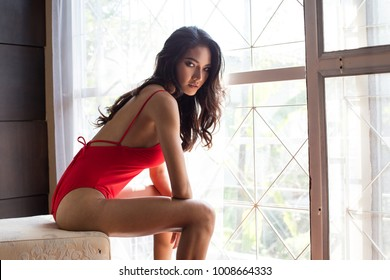 Asian sexy woman with relax emotion at home. People lifestyle concept.