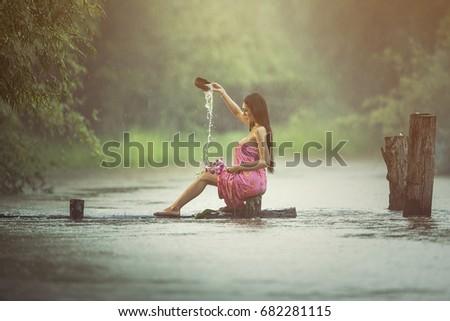 Sexy women in the rain
