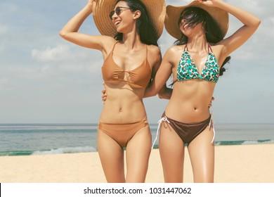 Matchless message, Busty asian red bikini beach