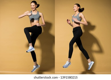 Asian slim Fitness woman exercise warm up stretch spring jumps legs, studio lighting yellow beige mustard background sun shadow copy space, concept Woman Can Do athlete Sport 6 packs