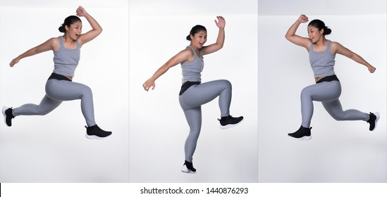 Asian slim Fitness woman exercise warm up stretch spring jumps legs, studio lighting white gray background copy space, concept Woman Can Do athlete Sport 6 packs, collage group pack
