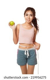 Asian slim girl with measuring tape and green apple  isolated on white background