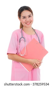 Asian smiling nurse holding clipboard isolated on white background