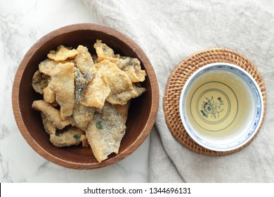 Asian snack food, salted egg yolk and deep fried fish skin