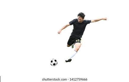 Asian soccer player kicking ball isolated on white background