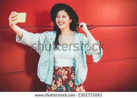 Asian social influencer woman