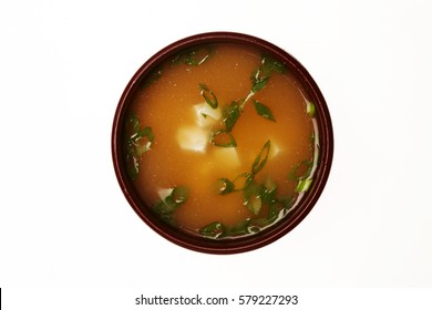 Asian soup in a cup isolated on white background.