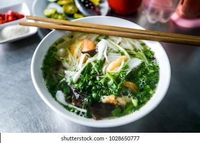 Asian soup in Vietnam, shrimp and noodles, shrimp Pho Noodle Soup Recipe Original Vietnamese Pho shrimp