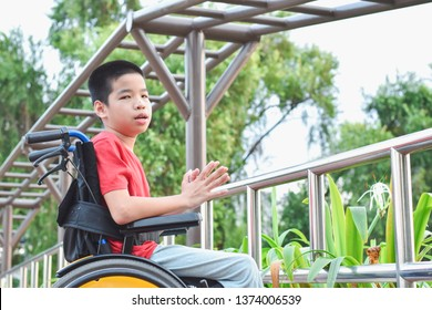 Asian special child on wheelchair is play and learn in the outdoor park like other people, Life in the education age of disabled children, Happy disabled kid concept.