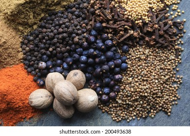 Asian Spices piled on slate