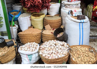 Asian spicies and nuts in sacks