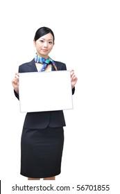 asian stewardess holding a white board