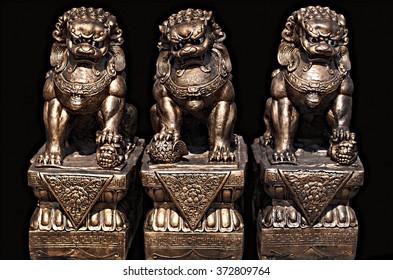Asian of stone statue. Guardian Lion Foo Fu dog guard.