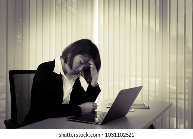 Asian stress business woman working fail,The owner of the company blamed her with bad word,The boss was complaining about the sales.
