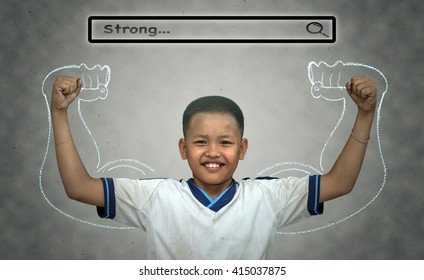 """Asian strong boy with browsing of Internet searching bar with """"Strong"""" above the head on the wall background, Health concept"""