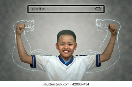"""Asian strong boy with browsing of Internet searching bar with """"Child"""" above the head on the wall background, Health concept"""