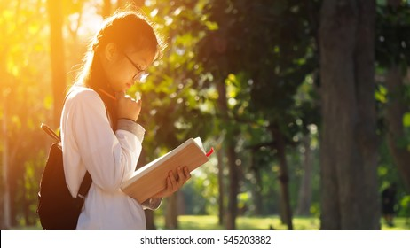 Asian student girl reading book in the park with sun shining background, people, learning, education and school concept