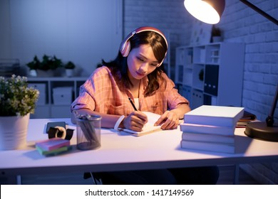 asian student study hard in the evening