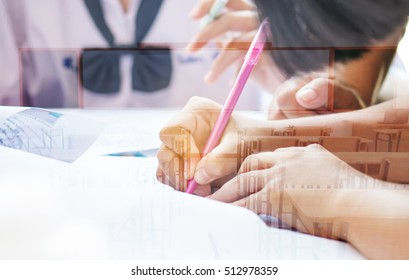 asian students writing test exam on paper for Admissions in high school with uniform student in School classroom of Thailand, exam student background and education concept, double exposure tone