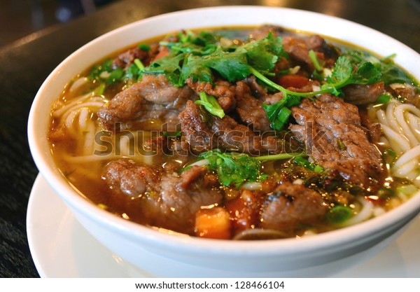 Asian style beef noodles in soup