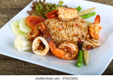 Asian style Fried rice with seafood, herbs and spices