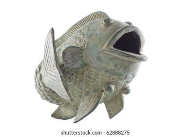 Asian style metal ornamental koi fish on a white background